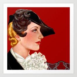 Art Deco Red Art Print
