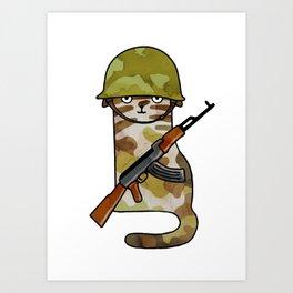Infantry Fighter Cat Art Print