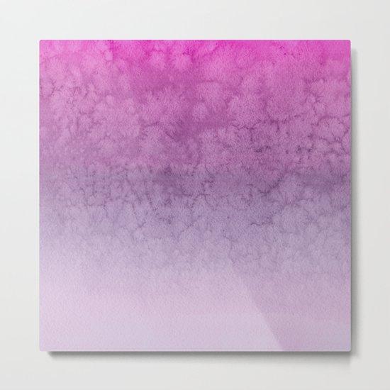 Pink Purple  Gradient Watercolor Painting Metal Print