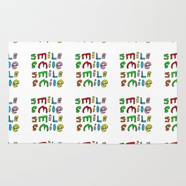 smile 4-smile,happy,fun,color,self esteem, good,positive,laugh,pleasure,joy Rug