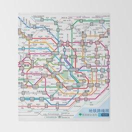 Tokyo Subway Map Throw Blanket