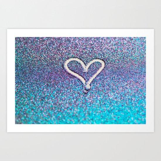 glitter heart- photograph of glitter  Art Print