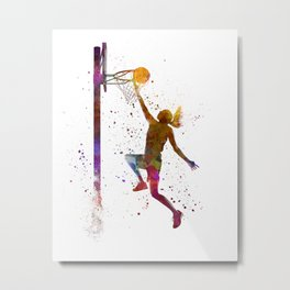 Young woman basketball player 04 in watercolor Metal Print