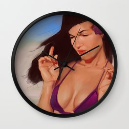 Bettie at the Beach Wall Clock
