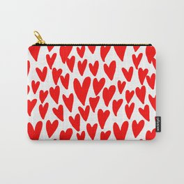 Hearts red and white love valentines day heart pattern minimal Carry-All Pouch