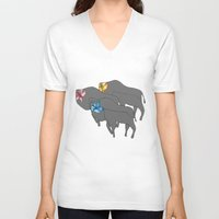 buffalo V-neck T-shirts featuring Buffalo  by Xandra Creative