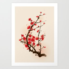 Oriental plum blossom in spring 012 Art Print