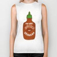 sriracha Biker Tanks featuring Sriracha Valentine by Leah Doguet