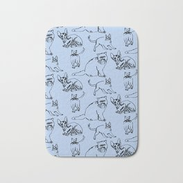 Minimal Black Line Cat Pattern Bath Mat