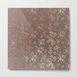 Gold Foil Harvest Wildflowers Print Metal Print