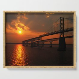 Sunset On Bay Bridge Serving Tray