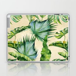 Green Tropics Leaves on Linen Laptop & iPad Skin