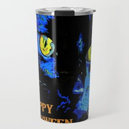 Black Cat Portrait with Happy Halloween Greeting  Travel Mug