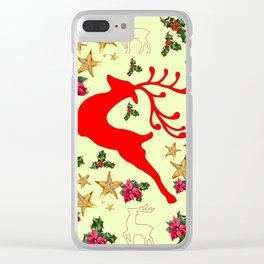 DECORATIVE LEAPING RED DEER  & HOLY BERRIES CHRISTMAS  ART Clear iPhone Case