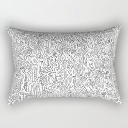 Graffiti Black and White Pattern Doodle Hand Designed Scan Rectangular Pillow