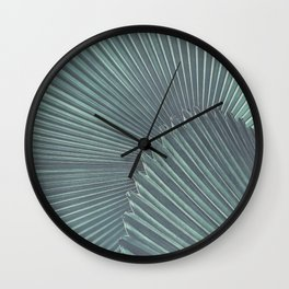 Tropical Palm Leaf Matte Teal Wall Clock