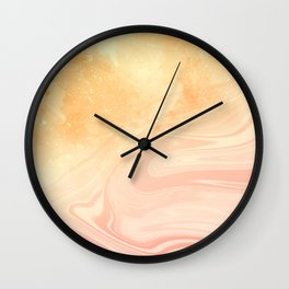Red marble with gold overflow Wall Clock