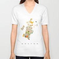 boston V-neck T-shirts featuring Boston map by Nicksman