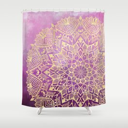 Gold mandala on maroon ink Shower Curtain