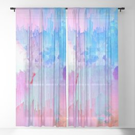 Abstract Candy Glitch - Pink, Blue and Ultra violet #abstractart #glitch Sheer Curtain