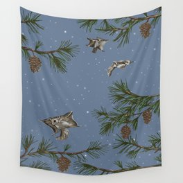 FLYING SQUIRRELS IN THE PINES (twilight) Wall Tapestry