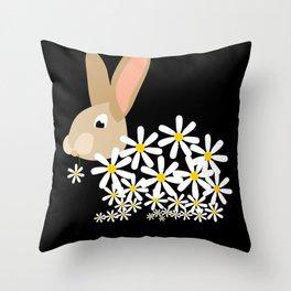 Daisy Cute Bunny With Blossom Throw Pillow