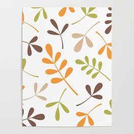 Assorted Leaf Silhouettes Retro Colors Poster