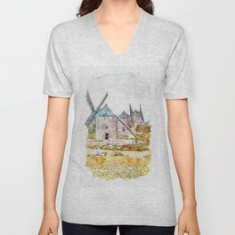 Aquarelle sketch art. Old windmill on the hill, sky with clouds. Consuegra, Spain Unisex V-Neck