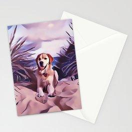 Yellow Labrador Retriever at the Beach Stationery Cards