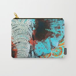 Indian Sketch Elephant Blue Orange Carry-All Pouch