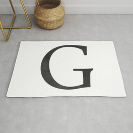 Letter G Initial Monogram Black and White Rug