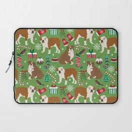 English Bulldog christmas pattern print pet friendly pet portrait dog art Laptop Sleeve