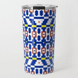 Geo Pixel Tile Pattern // Blue Travel Mug