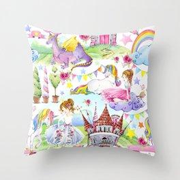 Princess with Unicorns and Dragons Throw Pillow