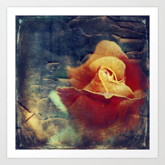 Grunge Rose Art Print