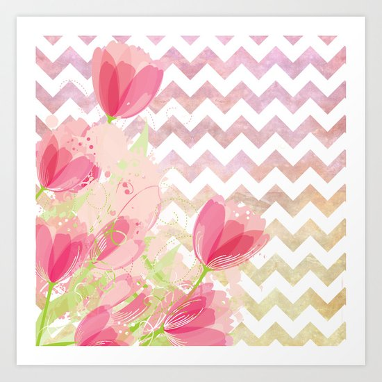 Chevron Tulips Art Print