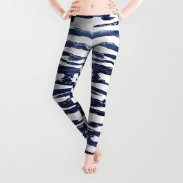 Abstract Waves in Blue Leggings