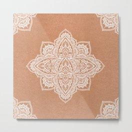 Modern boho terracotta floral mandala oriental pattern Metal Print