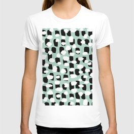 Spotted series abstract dashes mint black and white raw paint spots T-shirt