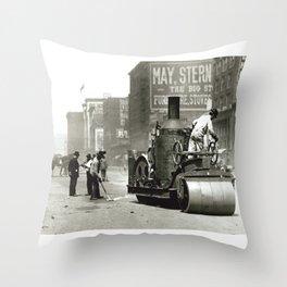 Street Workers Using a Steam Roller Throw Pillow