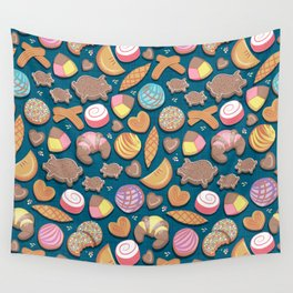 Mexican Sweet Bakery Frenzy // turquoise background // pastel colors pan dulce Wall Tapestry