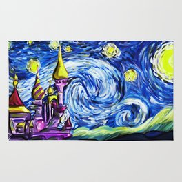 Starry night in small town Rug