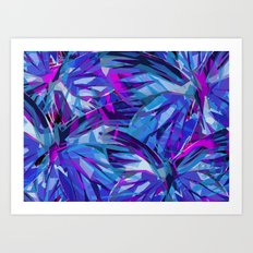 Butterfly Astract Blue Art Print