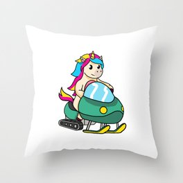 Funny Snowmobiling Unicorn Snowmobile Sled Gift Throw Pillow