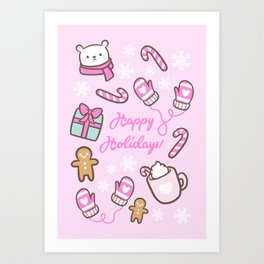 Cute Christmas // Pink Art Print