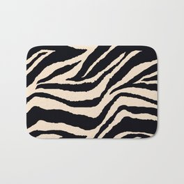 Zebra Animal Print Black and off White Pattern Bath Mat