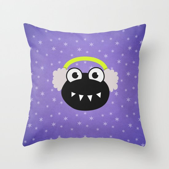 Purple Cute Cartoon Bug With Earflaps In Winter Throw Pillow