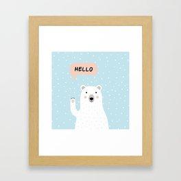 Cute Polar Bear in the Snow says Hello Framed Art Print