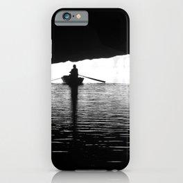 Silhouette Rowing Boat River Cave Tam Coc Vietnam iPhone Case