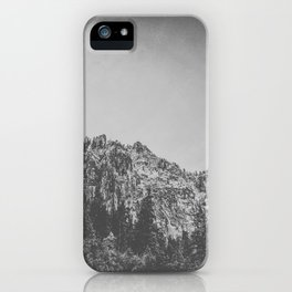 looking up at dramatic black and white cliffs iPhone Case